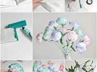 Diy - gör det själv - Blommor gjorda av näsdukar, vita rosor