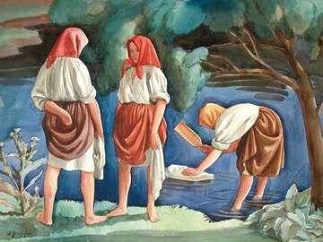 costume regionale - tre signore lavanti in costume