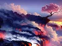 Вишнев цвят - Цъфтяща череша в края на водопада