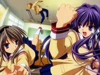 a girl punching boy