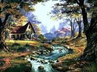 A HOUSE IN LESA - Cottage in a forest forest in the middle of the forest.