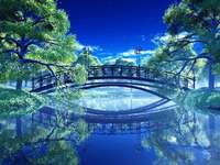 Bridge over the river - bridge over the river above the river