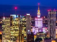 Warsaw in the lights of