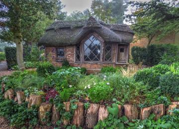 A hut in the woods. - A fairytale hut in the forest.