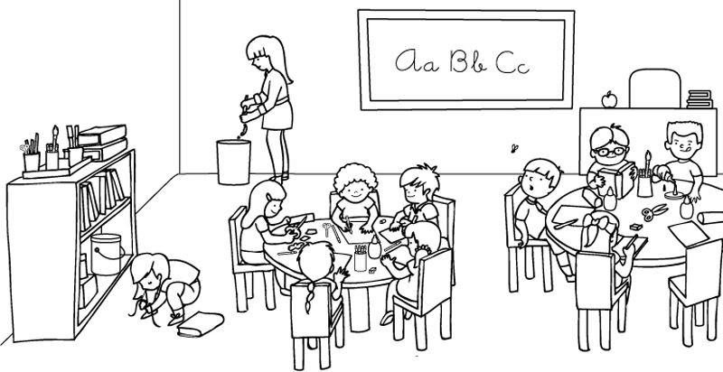 czwarta klasa - Klasa. Czwartej klasy puzzle odbioru. Rysunek w klasie (5×5)