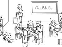 vierte Klasse - Klassenzimmer. Empfangspuzzle der vierten Klasse. Klassenzimmerzeichnung.