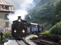 Een trein in Zwitserland.