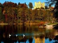 Slottet i bakgrunden. - Park. Pond. Palace. Sky.