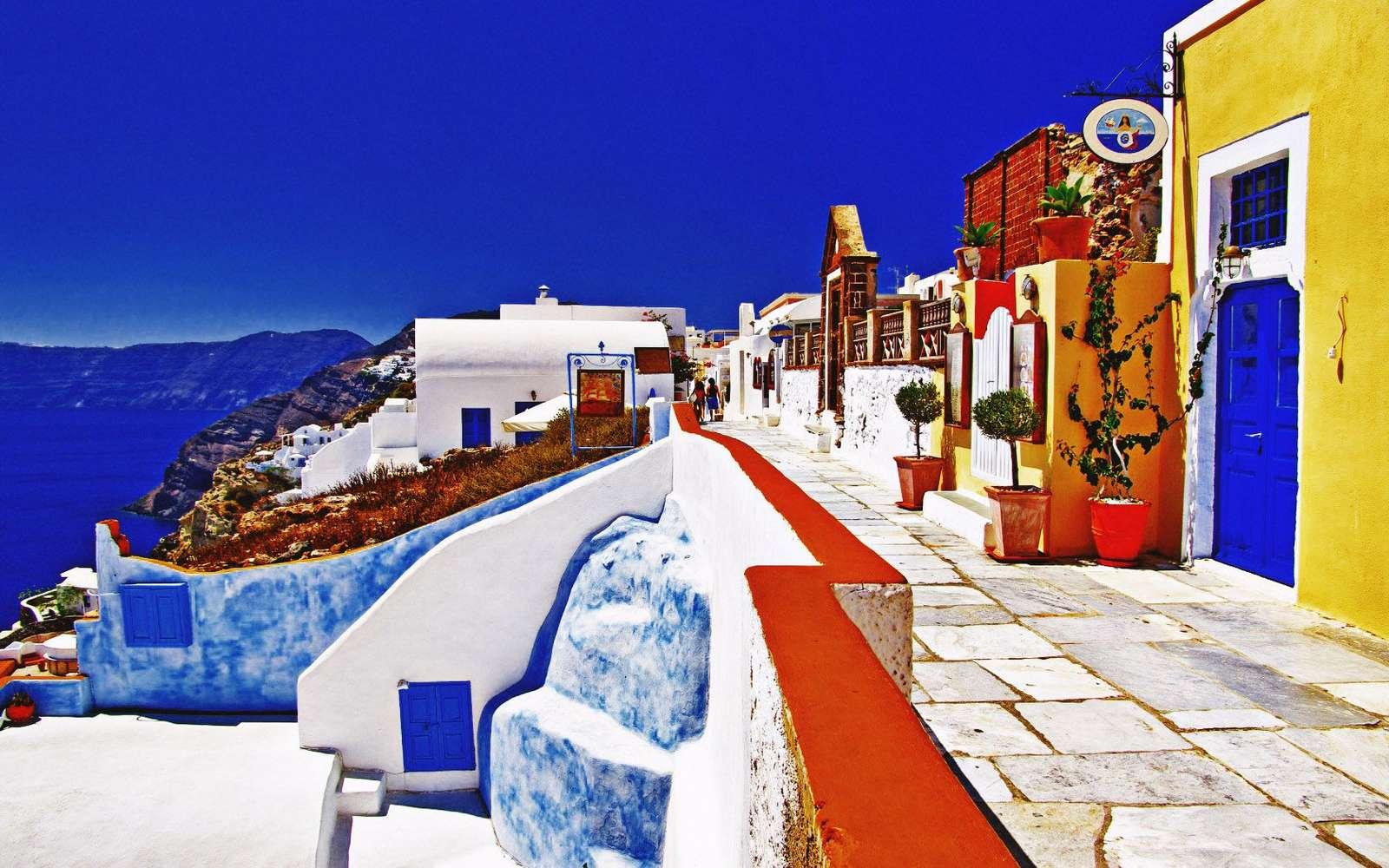 Een straat in Santorini. legpuzzel