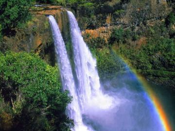 Wasserfall - Landschaft, Wasserfall, Regenbogen