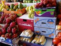 À la stalle - fruits exotiques sur l'étal du marché