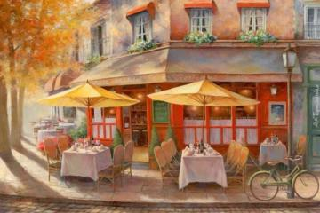painting - street, houses, cafe, tables, flowers in the windows