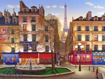 unter dem Himmel von Paris - Gasse, Häuser, Brunnen, im Hintergrund der Eiffelturm