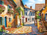 French town. - Puzzle. French town.