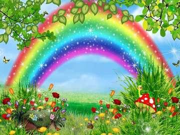 Rainbow over the meadow. - Rainbow over a green meadow.