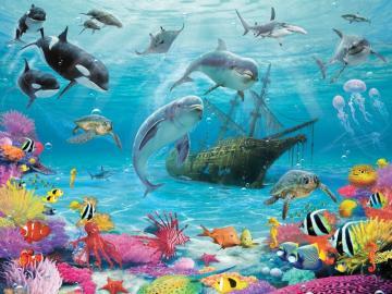 Oceaniczne życie. - Podwodny oceaniczny świat.