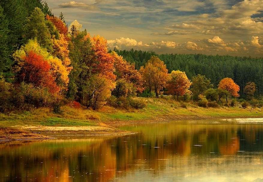 Jesienny wieczór - Jesienny wieczór nad rzeką, piękny jesienny krajobraz (10×10)