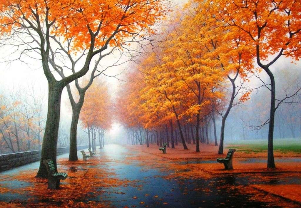 Есен в парка, оранжеви есенни листа - Красив есенен пейзаж в парка. Красиви цветни дървета, украсени с есенни листа. Оранжеви есенни листа (9×9)