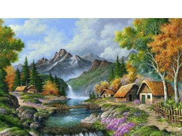 Domki  w górach. - Małe mieszkalne domki w górach.