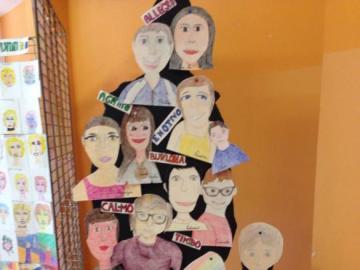 portraits - chaque enfant a fait son propre portrait et chacun a été suspendu à une forme de styromousse pein