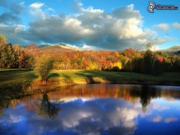 Autumnal landscape. - Autumnal landscape. Lake.