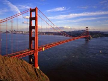 Golden Gate. - Panorama na Cieśninę Golden Gate w San Francisco. USA. Most w San Francisco. Most Golden Gate.