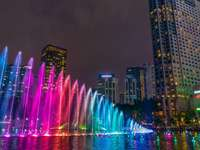 Colorful fountains. - Colorful fountains in Malaysia. Buildings. Colorful fountains in Malaysia.