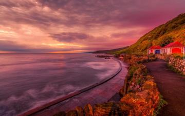 The coast of England. - Scarborough on the North Sea in North Yorkshire. Just heaven in flames.