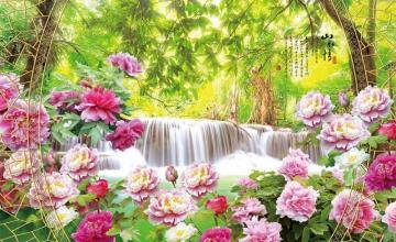 Picture with roses. - Landscape with pink roses.