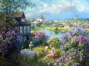 W ogrodzie. - Dziewczyna w pięknym ogrodzie.