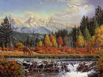 Amerykański traper. - Krajobraz: amerykańskie widoki.