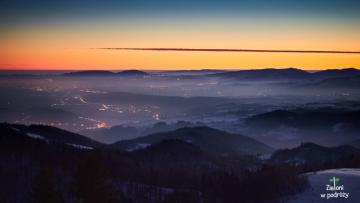 """Beskid Sądecki in the morning - The photo comes from the website """"Greens on the go"""": """"Tower on Koziarzu - winter in t"""