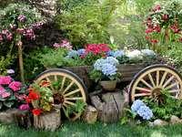 Τοπίο κήπου. - Ξύλινο βαγόνι. Τοπίο: διακοσμήσεις κήπων. Παλιά οχήματ�