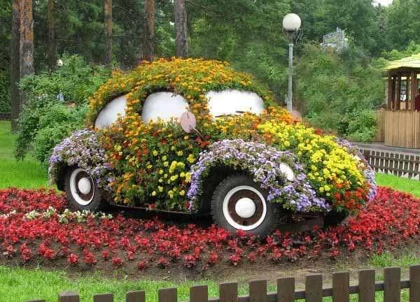 Флорално превозно средство - Вторият живот на колата. Пъзел: флорално превозно средство (6×6)