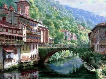górski krajobraz - górski krajobraz , rzeka , most , piękny widok