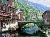 mountain landscape - mountain landscape, river, bridge, beautiful view