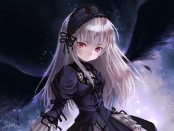 Anime-Vampir-Mädchen - Dies ist ein Anime-Vampir-Mädchen mit einem sehr klassischen Kleid.