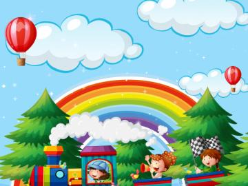 Picture with a rainbow. - For children: a picture with a rainbow.