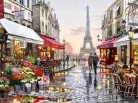 malarstwo - malarstwo , uliczka , kwiaciarnia , zmierzch , Paryż