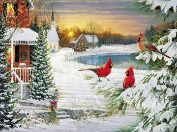 A festive picture. - A festive picture with birds.