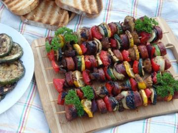 Skewers. - Skewers of sausage and vegetables.