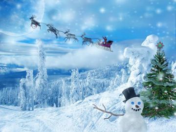 Papai Noel está chegando - Papai Noel no trenó está chegando