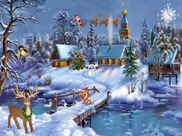Schneebedeckte Feiertage. - Weihnachten. Weihnachten.