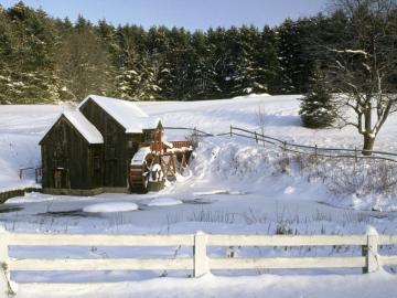 Winter landscape - winter landscape, old mill