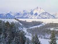 Paysage d'hiver - paysage d'hiver, vallée, montagnes