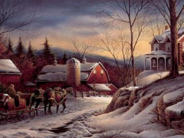 Winter evening. - Landscapes: winter evening. Jigsaw puzzle. Art. Painting. Winter evening. Painting.