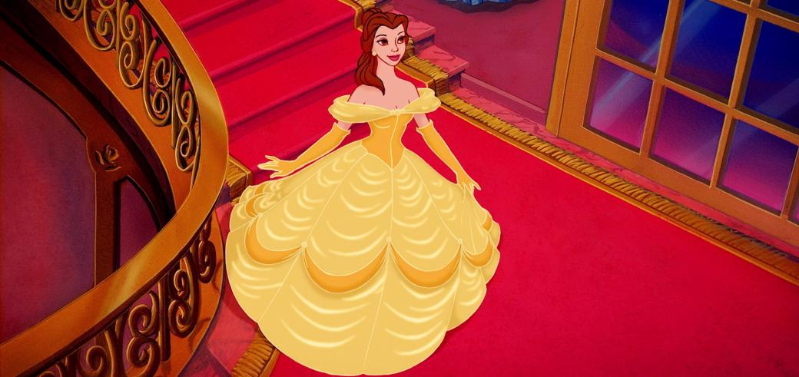ομορφιά και το τέρας - όμορφη, που κατεβαίνει τις σκάλες ντυμένη με κίτρινο χρώμα (3×3)