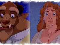 la belle et la bête - la bête en deux parties humaine et bête