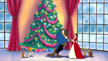 the beauty and the beast two - beautiful and the beast in front of the Christmas tree
