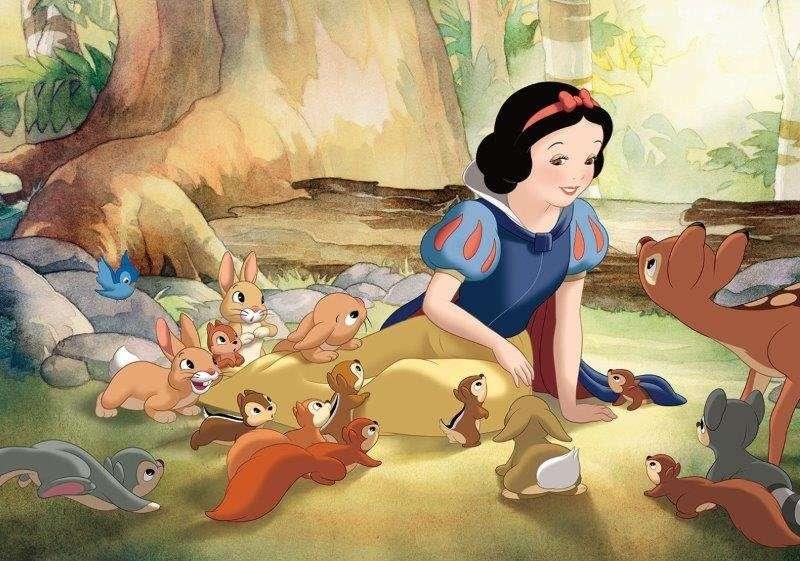 sneeuwwit en zeven dwergen - sneeuwwit en zeven dwergen met dieren in het bos (5×5)